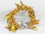 5-6mm yellow top-drilled pearl bracelet with blister pearl