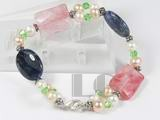 5mm white and pink potato pearl bracelet with gemstone bead