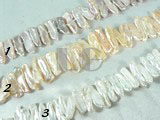 beautiful white, pink and purple biwa pearl strand of 7-20mm