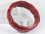 12-17mm square genuine red coral bracelet