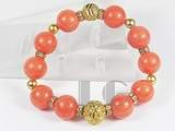 12mm orange gemstone bracelet with golden ball