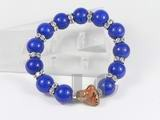 12mm dark blue gemstone bracelet with ceramic tiger