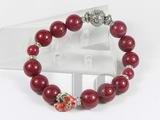 12mm and 8mm red jade bracelet with ceramic cock